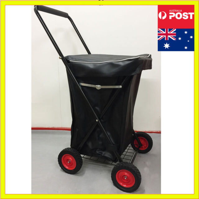 4 Wheels Shopping Trolley Collapsible Large Steel Basket Folding Cart Waterproof