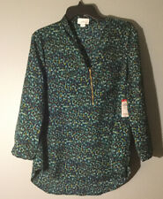 Women Shirt Denim Blouse Top Zip Front Jaclyn Smith M Medium XL Extra Large NEW