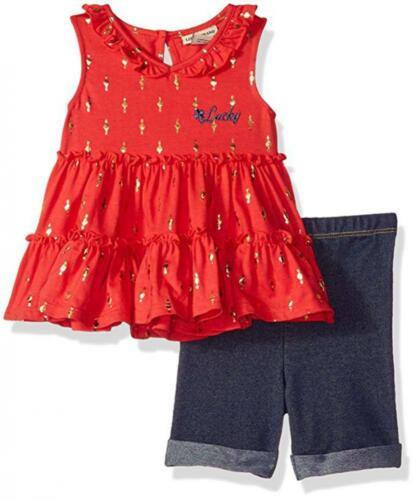 Lucky Brand Infant Girls Coral Tunic 2pc Bermuda Set Size 12M 18M 24M $50