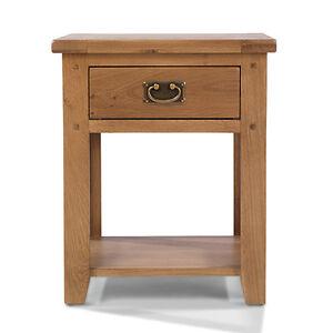 Rustic oak lamp table 1 drawer living room bedroom solid wood image is loading rustic oak lamp table 1 drawer living room aloadofball Images