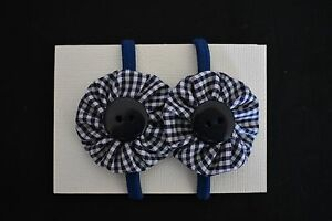 Handmade Crease-Resistance Rapture Girls Navy Blue Check Hair Ties Clothing, Shoes & Accessories