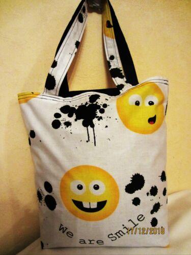 Wendetasche Smiley Shopper 1 Beutel selbst genäht  Motiv Einkaufstasche