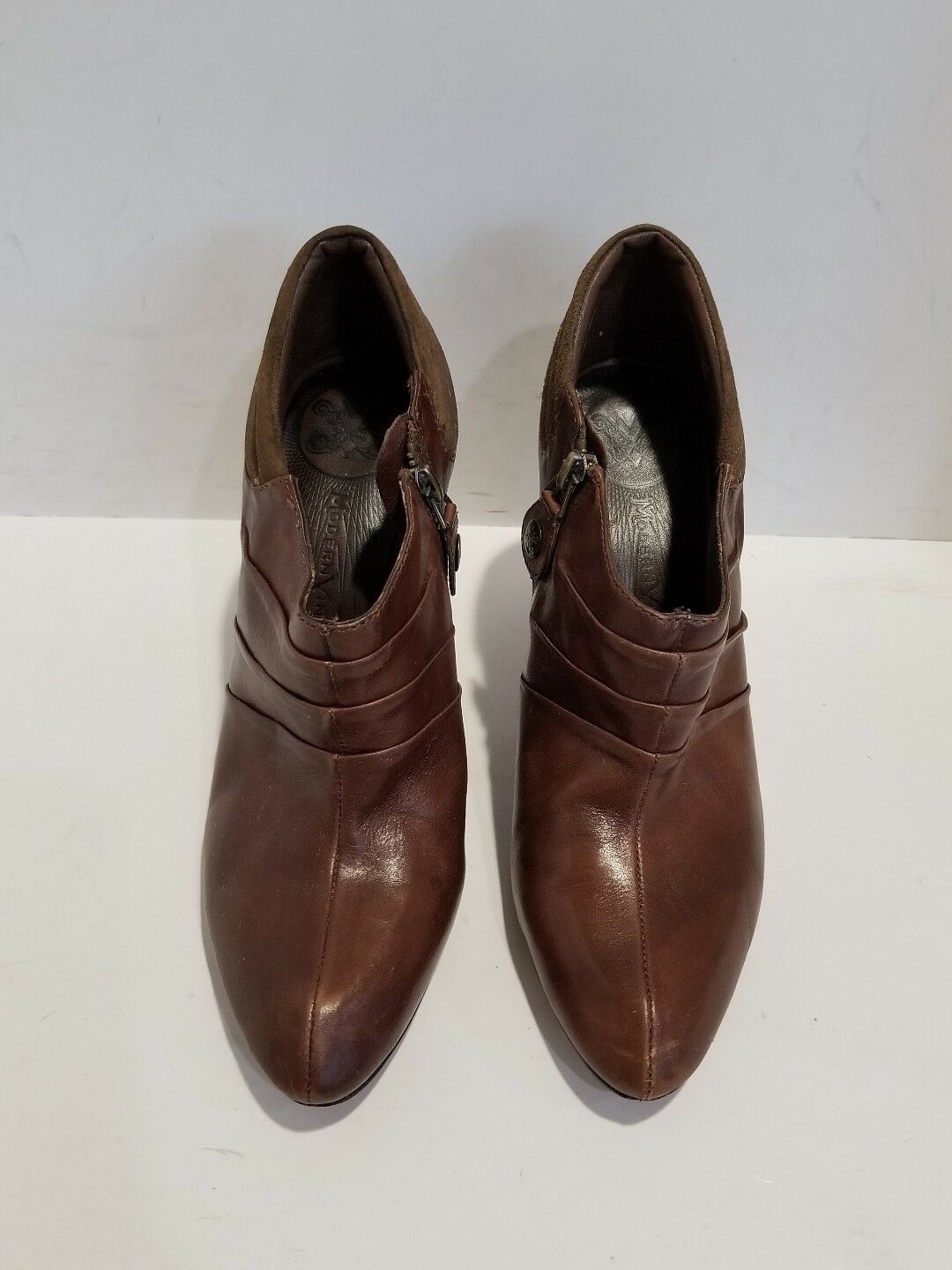 Modern Vintage Womens Brown Leather Ankle Boots Size 38.5/ 8 M