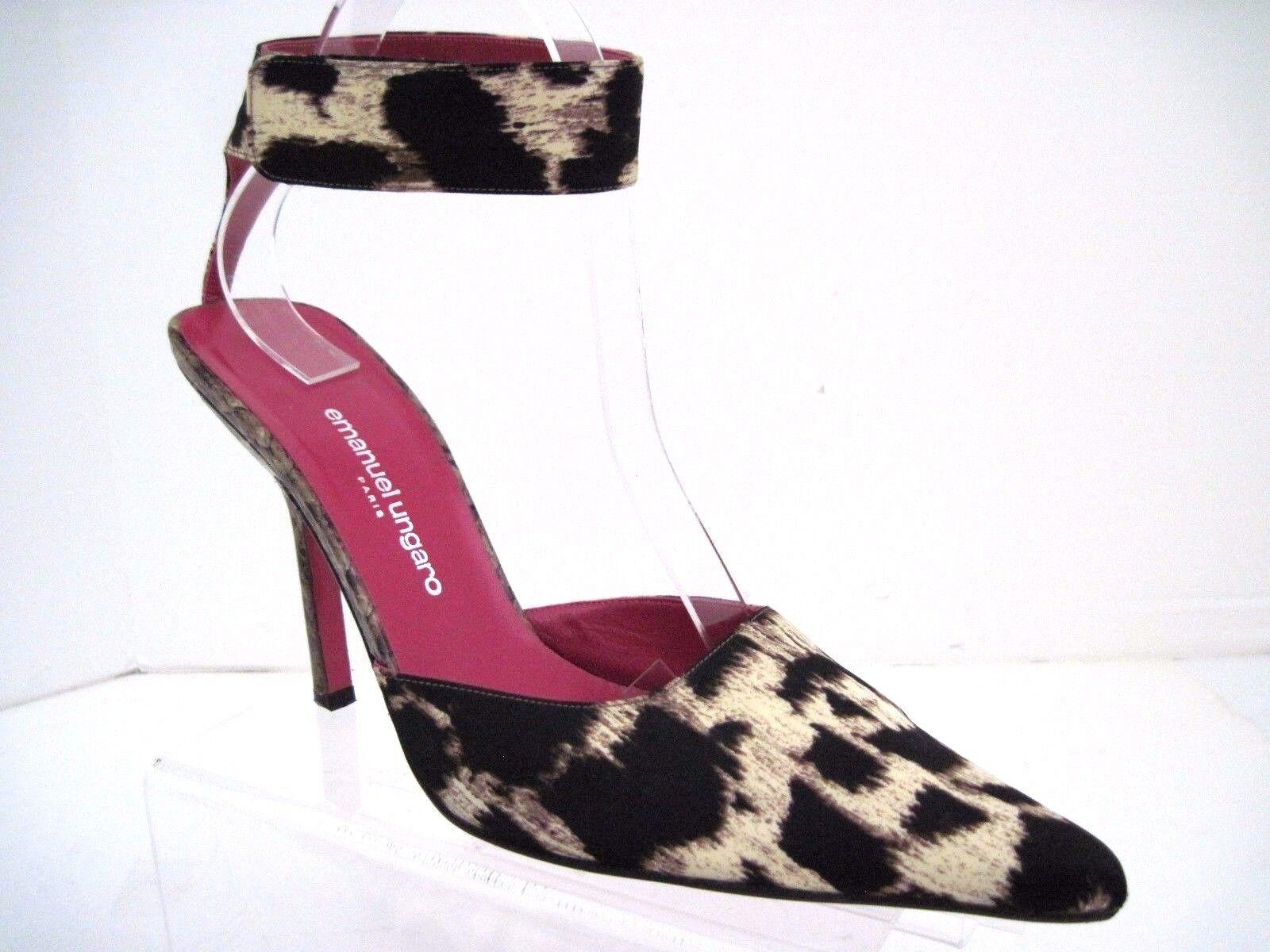 EMANUEL UNGARO Animal Print Fabric SnakeSkins Heels Ankle Straps SZ 10 B