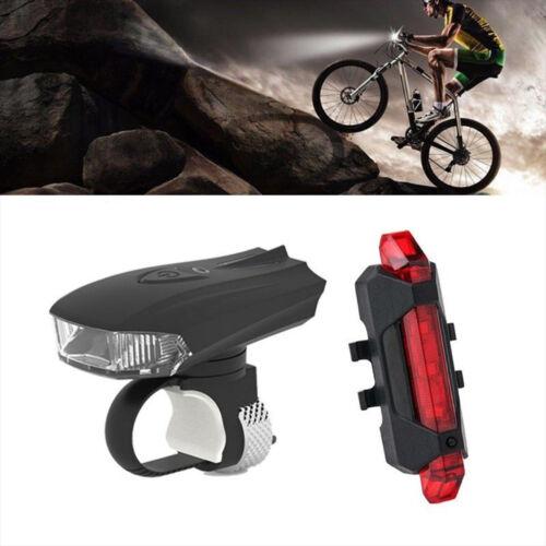 5 LED USB Rechargeable Bicycle Bike Motion Sensor Front /& Tail Light Warning Set