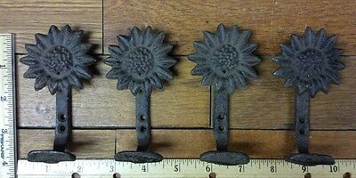 Set Of 4 SUNFLOWER COAT Wall HOOKS Rustic cast iron belt scarf 4/""