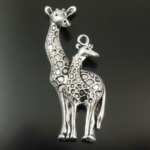 12X-Vintage-Style-Silver-Tone-Giraffe-mon-and-son-Pendant-Findings-55-27-7mm