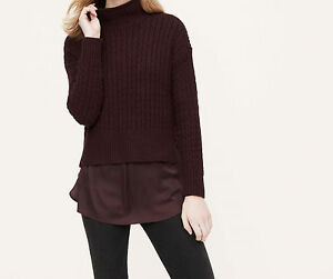 Ann Taylor Loft Mock Neck Cable Sweater Pullover Various