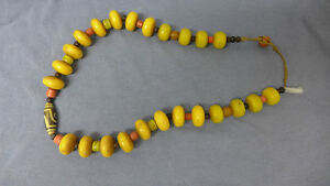 Vintage Dzi, Amber, Undyed Coral Bead Necklace
