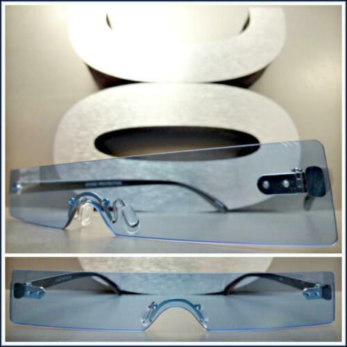 Futuristic Cyclops Space Club Rave Party SUN GLASSES Thin Rectangular Blue Lens