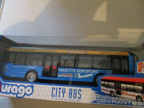 BUS DE VILLE B BURAGO SERIE CITY BUS 1//64 NAVETTE AEROPORT BLEU GRIS
