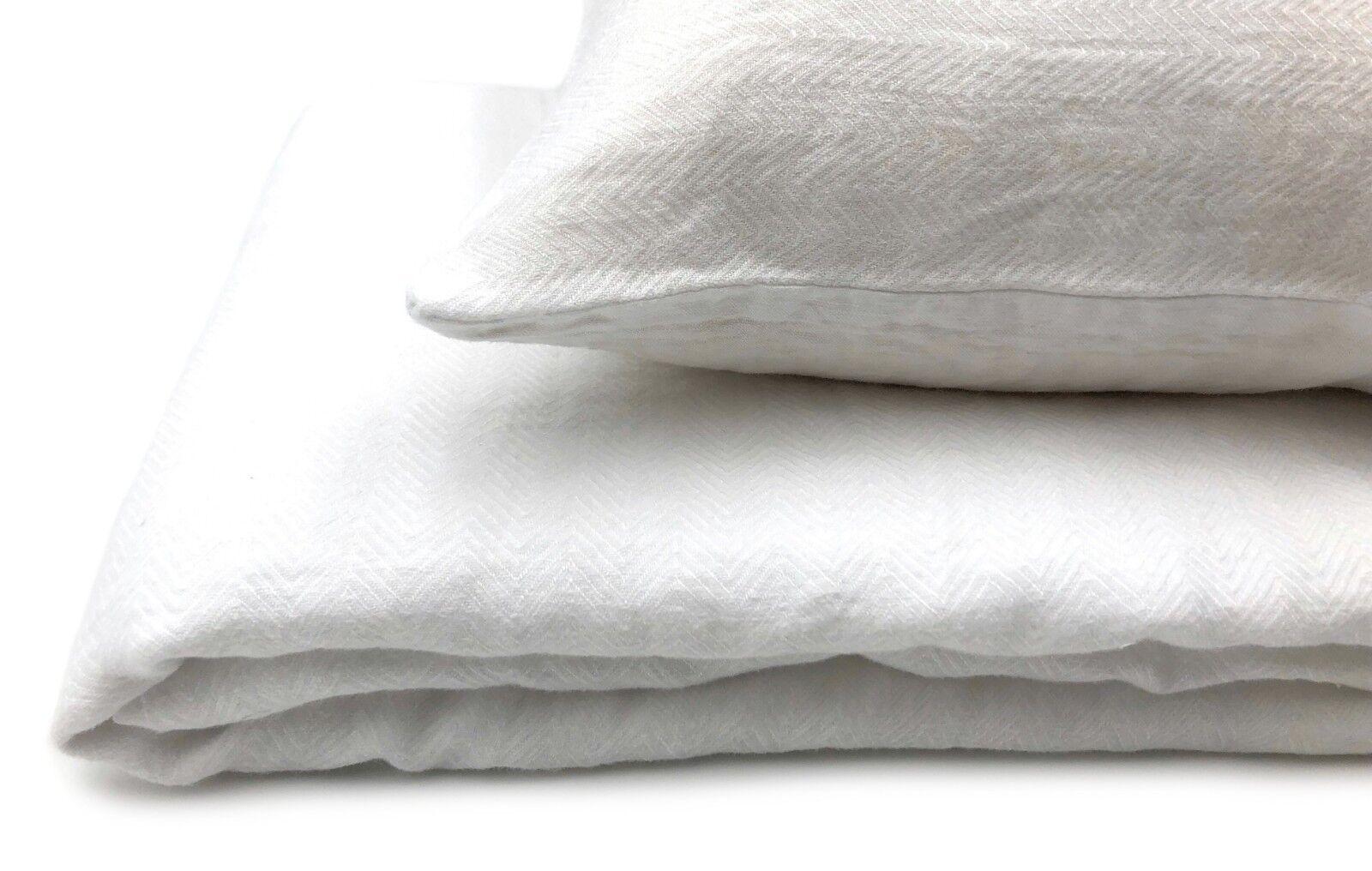 Jacquard Leinen  Stonewashed  Bettwäsche-Set (135x200, 40x80 cm) Classic White