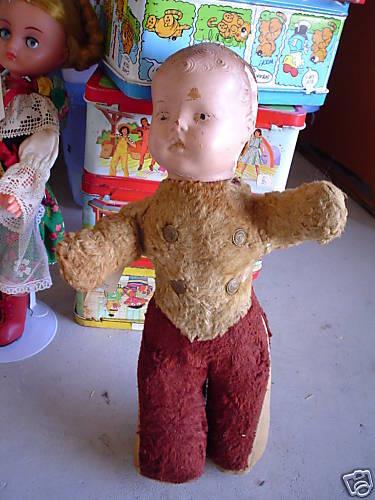 ODD Vintage Composition Cloth Boy Character bambola guarda