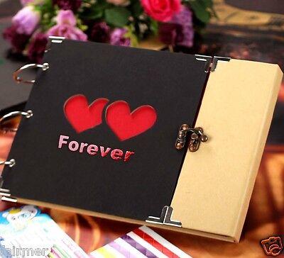 10X7 New Black Hard Paper Cover Forever Loves DIY Photo Album Book Holder