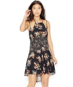 48d4daa9bb08 NWT Free people Contrast Print Slip Dress Black Floral Star Pattern ...