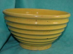 YellowWare-Bowl-USA-Stoneware-Crockery-Prim-farmhouse-ridges-LARGE