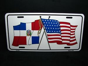 DOMINICAN REPUBLIC FLAG Metal License Plate Frame Tag Holder Two Holes Tag