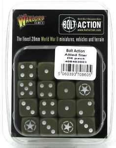 Bolt-Action-408403001-Allied-Star-D6-Pack-16-Dice-Olive-Drab-WWII-US-British