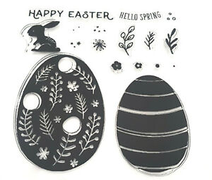 Details about EASTER CLEAR RUBBER STAMPS-EGG/EGGS/BUNNY GREETINGS-  STAMP-HAPPY MESSAGE-SPRING