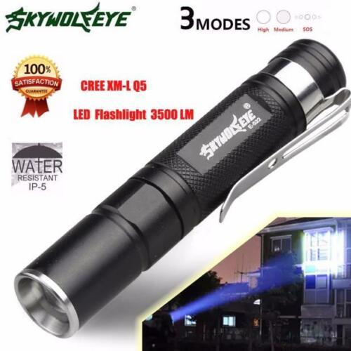 2pcs Mini 3500LM Flashlight Zoomable Q5 LED Flashlight Torch Super Bright Light