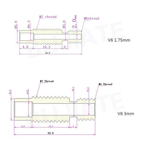 Extruder Hotend Throat 1.75//3//4.1mm Stainless Steel For E3D V6 RepRap 3D Printer