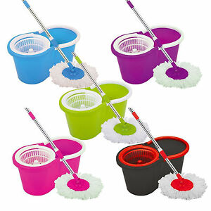 360-FLOOR-MAGIC-SPIN-MOP-BUCKET-SET-MICROFIBER-ROTATING-DRY-HEADS-WITH-2-HEADS
