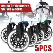 5pcs 3 Heavy Duty Caster Rubber Swivel Wheels Roller Office Chair Replacement