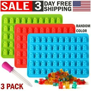 Silicone-Chocolate-Candy-Molds-Gummy-Bear-Mold-Maker-Ice-Cube-Tray-Baking-3-Pack
