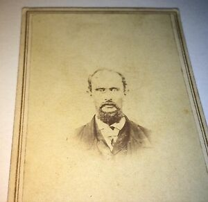 Antique-Victorian-American-Civil-War-Era-Balding-Man-Thick-Beard-CDV-Photo