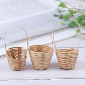 1-12-Dollhouse-Miniature-Bamboo-Basket-Food-Basket-Model-Doll-House-AccessoriANE