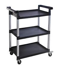 Maxworks 80774 3 Shelf Utility Plastic Cart With Wheels 225 Lbs Maximum Capacity