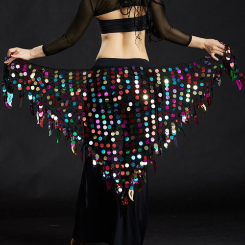US New 2019 Women Belly Dance Costumes Hip Scarf Wrap Belt Skirt Sequin triangle