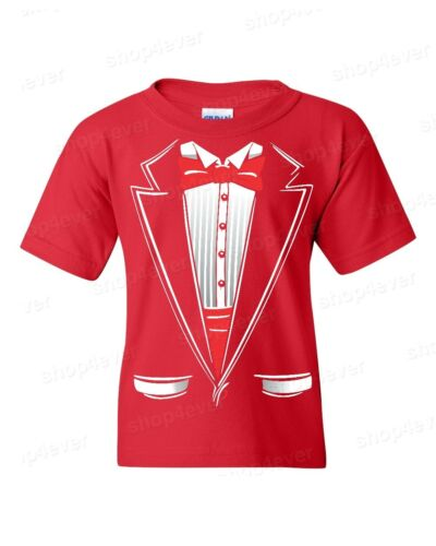 Classic Tuxedo Costume Youth/'s T-Shirt Funny Wedding Prom Suit Red Bowtie Tees