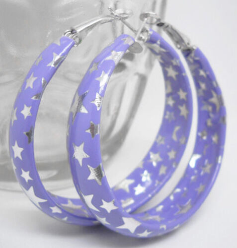 E1012 Fashion Violet Star Femmes Fille Boucles d/'oreilles créoles bijoux