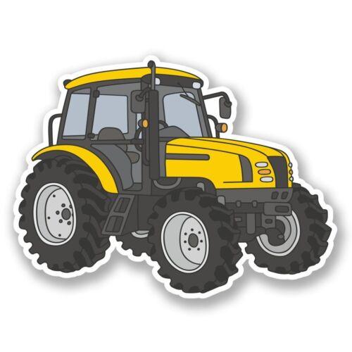 2 X Amarillo Tractor de Granja Pegatina de vinilo Laptop Viaje Equipaje Coche #5508