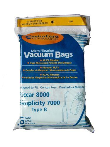 6 Riccar 846 8000 /& Simplicity 7000 Type B Micro Filtration Vaccum Bags
