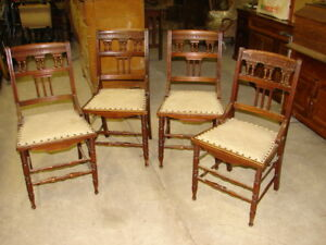 4-Antique-Walnut-Eastlake-Victorian-Stick-amp-Ball-Chairs
