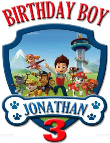 NEW PERSONALIZED CUSTOM PAW PATROL BIRTHDAY SHIRT ADD NAME /& AGE FOR FAMILY