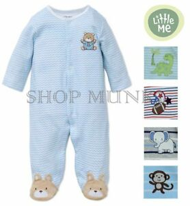 ccb2103eccd6 Little Me Boys 1 Piece Long Sleeve Sleeper Full Zip or Snap Footie ...