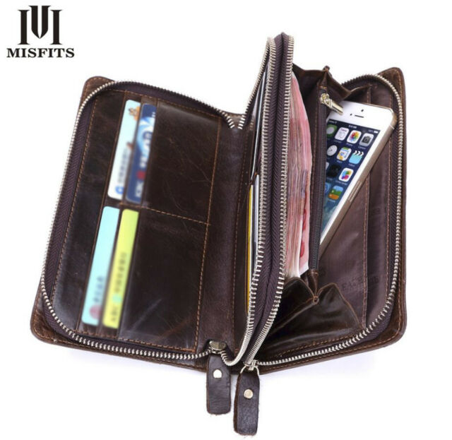 ee17fe4f4da1 Frequently bought together. Men Bifold Genuine Leather Vintage Zip Long  Wallets ID Credit Card ...