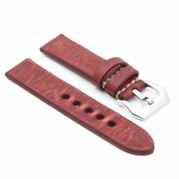 Strapsco Distressed Vintage Red Leather Watch Mens Strap W/ Silver Pre V Buckle