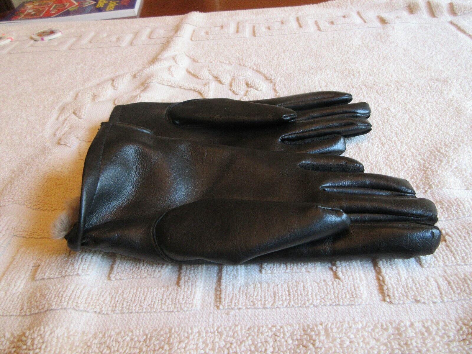 Ladies Gloves , Rabbit Fur , Black , Misses Stretch , F