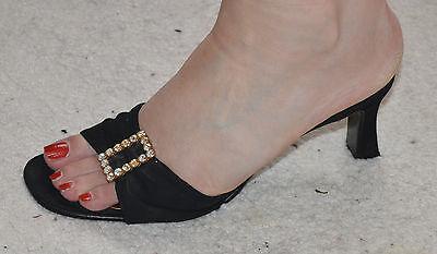 Sandalias Preciosas Negro Diamante Talla 5 Nuevo