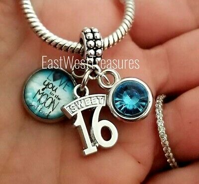 Custom Sweet Sixteen Jewelry Birthday Gift For Girls 16th Birthday Pendant Personalized Sweet 16 Charm Birthday Necklace with Letter /& Birthstone