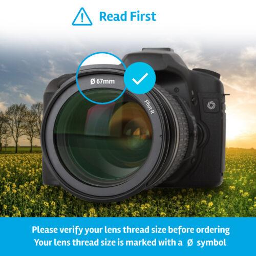 Fot-R 67mm centro-Pinch Snap-On Tapa Frontal del Objetivo Soporte Para Canon /& Nikon Lentes