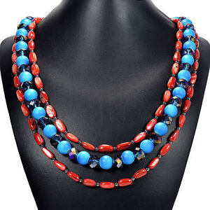 Blue-Mystic-Fire-Crystal-amp-Red-Freshwater-Shell-Necklace-Tantric-Tokyo-Jewellery