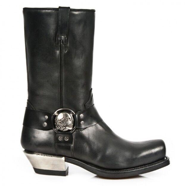 Men' Fashion Leather Stiefel Newrock 7965 S1 Itali schwarz Antik schwarz West Ne