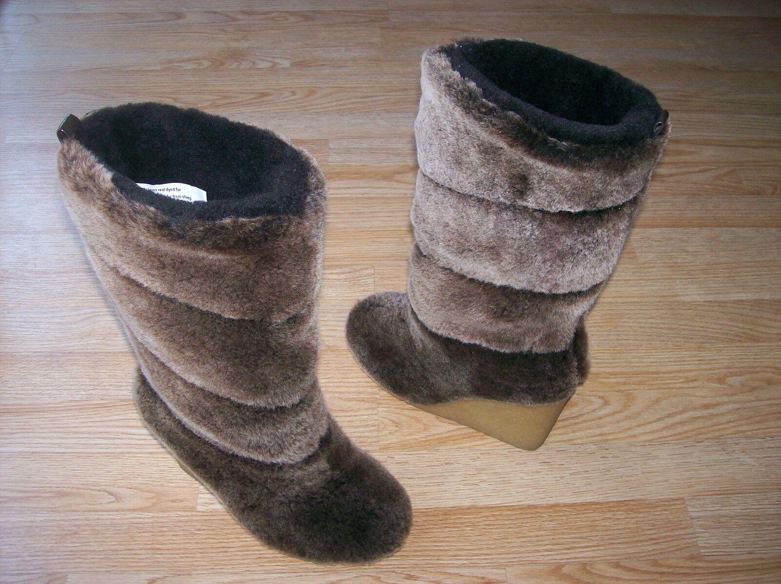 395 Tory Burch Kiki Boots Wedge Heel Plush Dyed Shearling Fur Coconut sz 7 NEW
