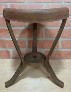 Antique Farm Milking Stool W Star Red Paint Cast Iron