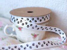 2 Metres Black White Animal Paw Print Dog Cat Ribbon 15mm Wide Crafts Cake